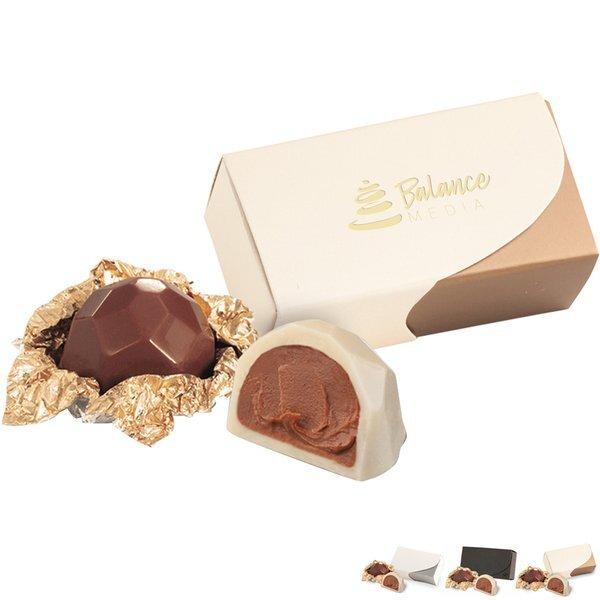 Belgian Chocolate Hazelnut Truffle Gift Box, 2 Pcs