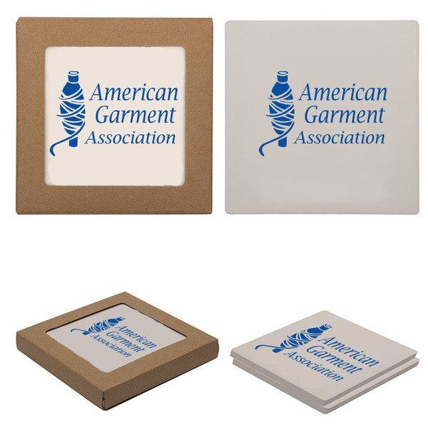 Square Absorbent Stone Coaster Duo