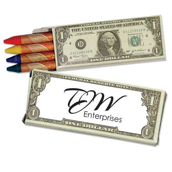 Four Pack Crayons, Dollar Bill Design Custom