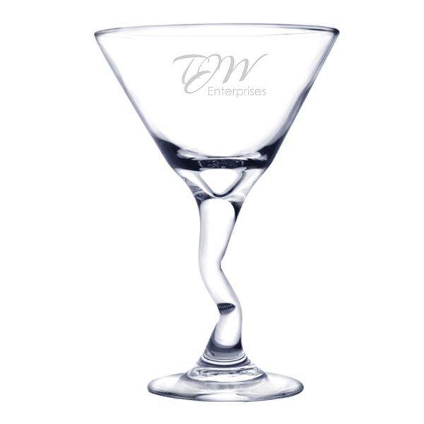 Bent Martini Glass, Deep Etched, 9.25oz.