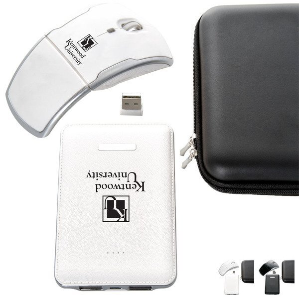 Faux Leather Power Bank and Wireless Mouse Gift Set, 5000mAh