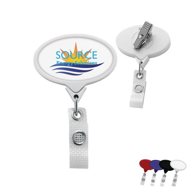 Antimicrobial Jumbo Oval Retractable Badgeholder, Alligator Clip