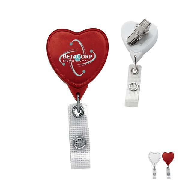 Antimicrobial Jumbo Heart Retractable Badgeholder, Alligator Clip