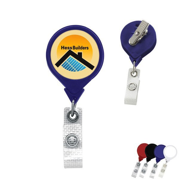 Antimicrobial Jumbo Round Retractable Badgeholder, Alligator Clip