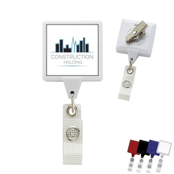 Jumbo Square Retractable Badgeholder, Alligator Clip w/Antimicrobial Additive