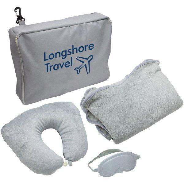 Gray 3-Piece Travel Pillow & Blanket Set