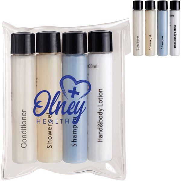 Travel Amenities Kit with Shampoo, Conditioner, Shower Gel and Lotion