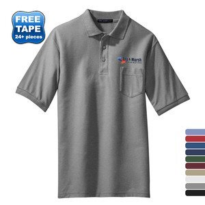 Port Authority® Silk Touch™ Pique Men's Polo with Pocket