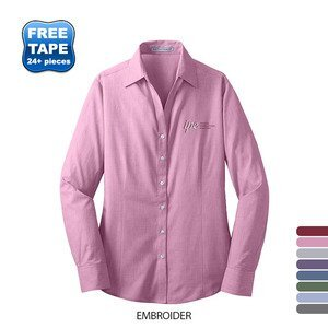 Port Authority® Crosshatch Easy Care Poplin Ladies' Shirt