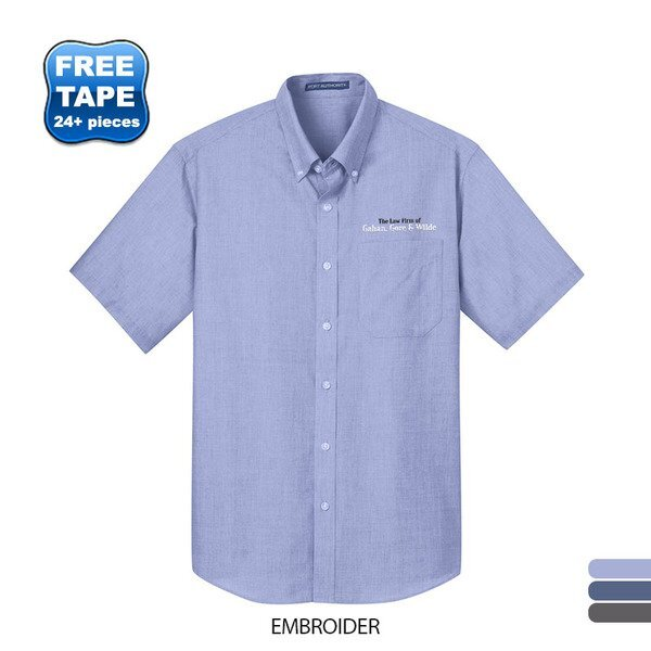 Port Authority® Crosshatch Easy Care Poplin Men's Short Sleeve Shirt
