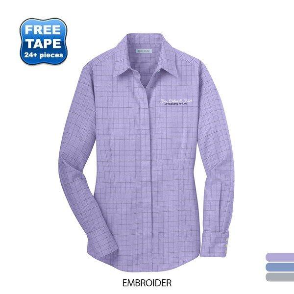 Red House® Windowpane Plaid Non-Iron Cotton Ladies' Shirt