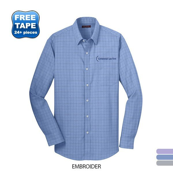 Red House® Windowpane Plaid Non-Iron Cotton Men's Shirt