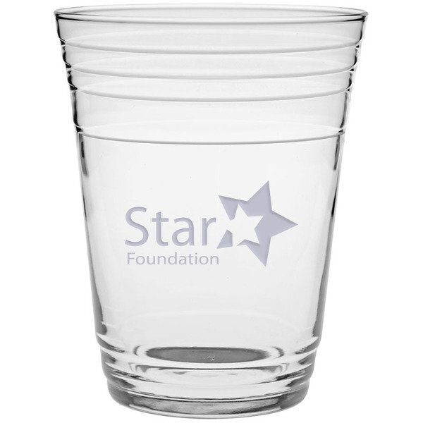 Glass Fill Up Cup - Deep Etched, 16oz.