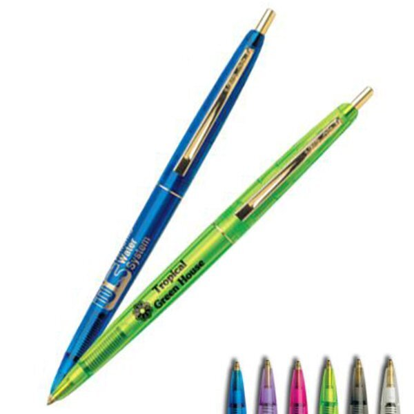 BIC® Clear Clics® Gold or Chrome Refillable Pen