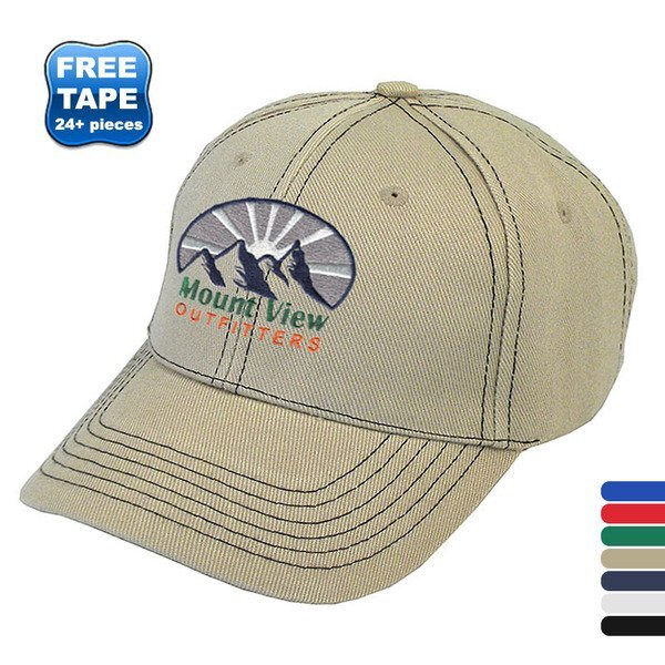 Contrast Stitch Acrylic Constructed Cap with Contrasting Underbill