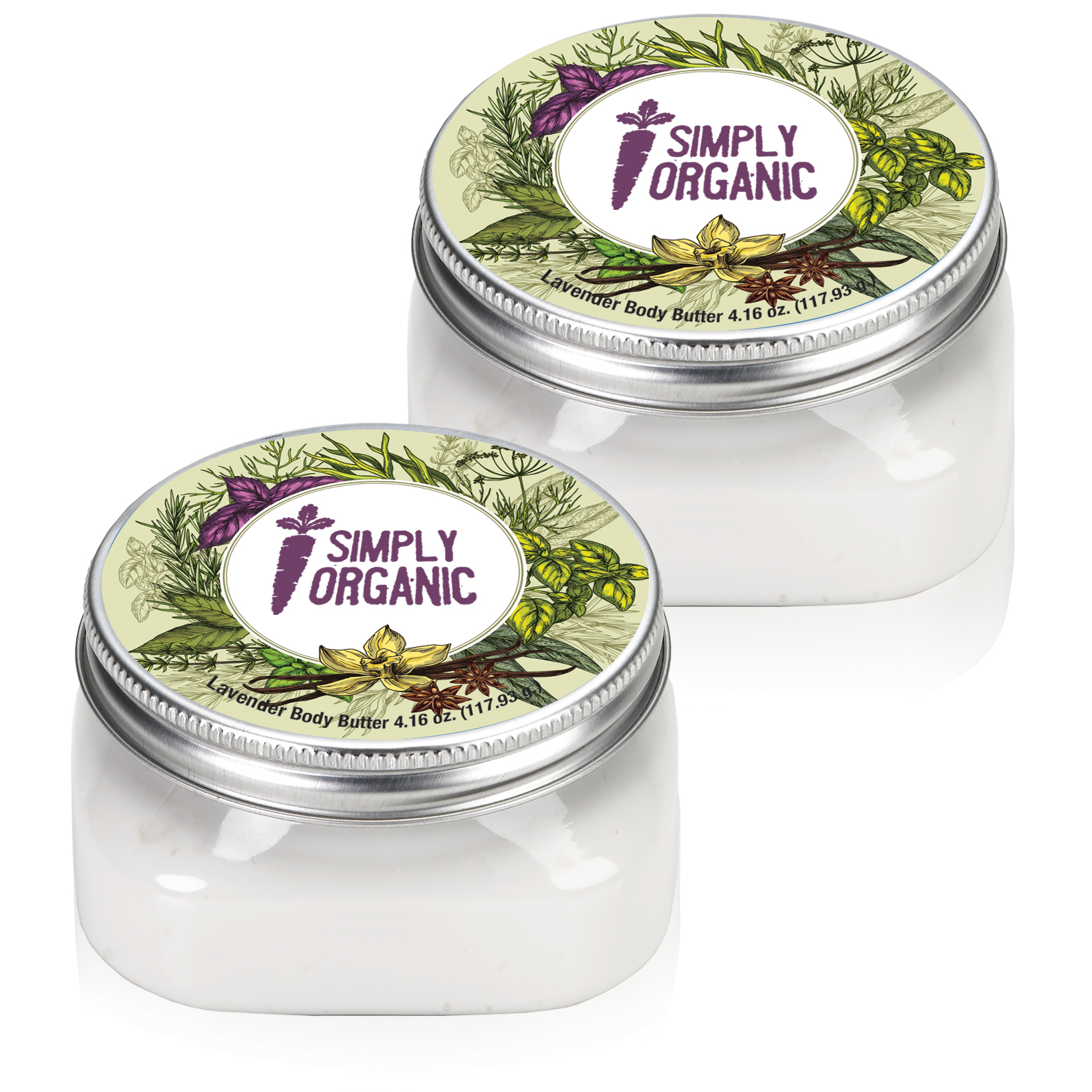 Body Butter in Square Jar, 4oz., Full Color Imprint