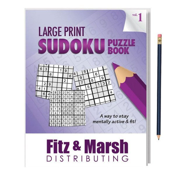 Large Print Sudoku Puzzle Book with Pencil - Vol. 1