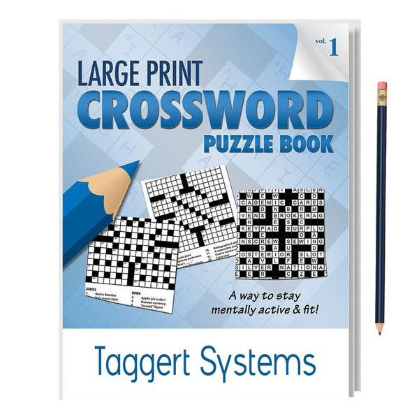 Large Print Crossword Puzzle Book with Pencil - Vol. 1