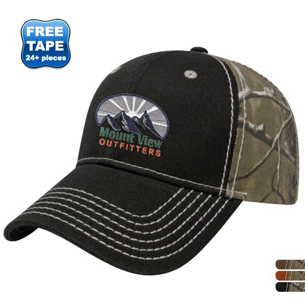 Heavy Contrast Stitch Chino Constructed Cap with Realtree® Camo Back