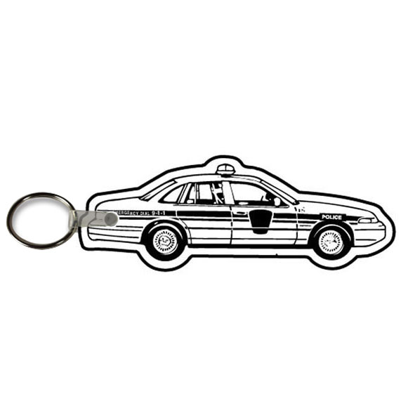 Soft Vinyl Key Tag, Police Car