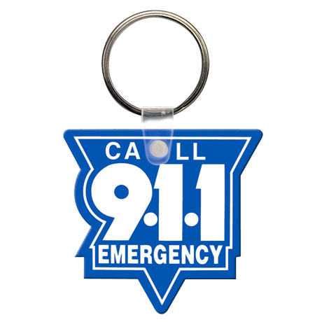 Soft Vinyl Key Tag, Call 9-1-1