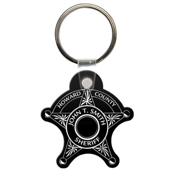 Sheriff 5 Point Badge Soft Vinyl Flexible Key Tag