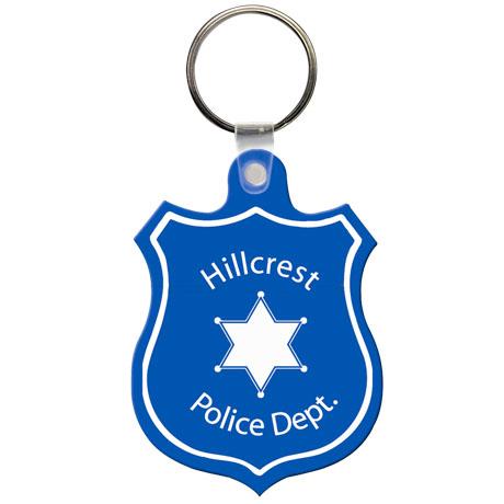 Soft Vinyl Key Tag, Police Shield