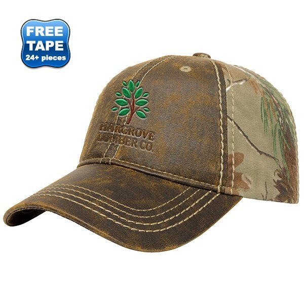 Faux Leathered Poly Cotton Unconstructed Cap with Realtree® Camo Back