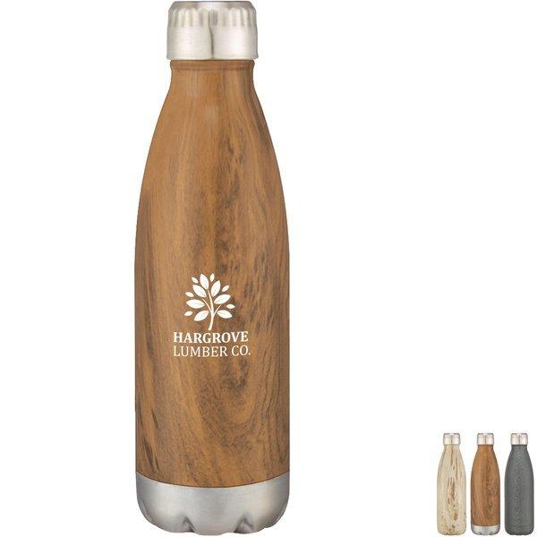 Stainless Steel Woodtone Vacuum Bottle, 16oz