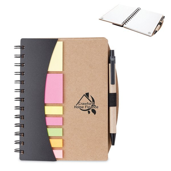 """Mini Journal w/ Pen, Flags & Sticky Notes, 6"""" x 7"""""""