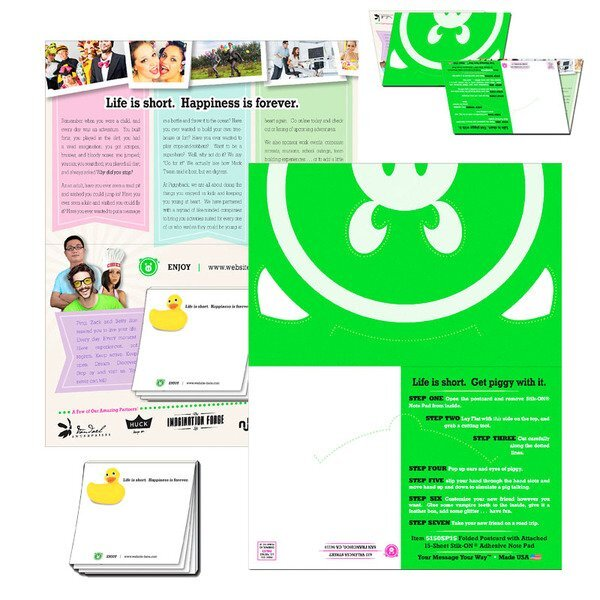 """Folded Paper Postcard with Attached Adhesive Notepad, 8-1/2"""" x 5-1/2"""""""