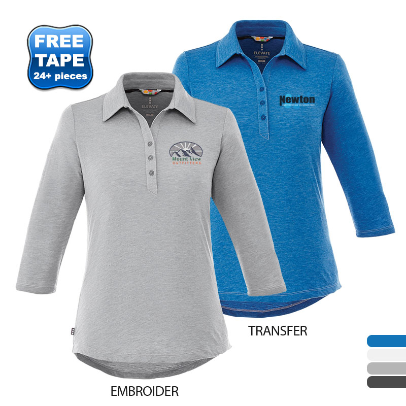 Tipton Heathered Ladies' 3/4 Sleeve Performance Polo