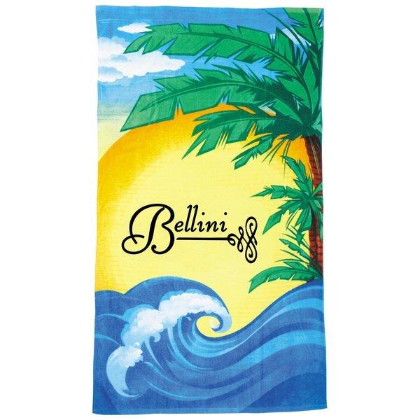 Tropical Beach Scene Medium Weight Beach Towel, 14 lbs.