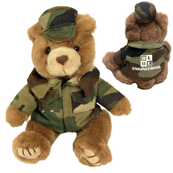 Green Camo Plush Bear, 8""