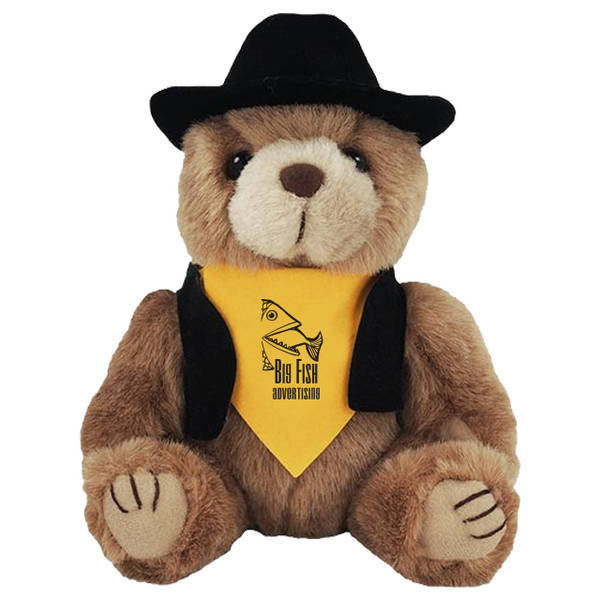 """Cowboy Plush Bear, 8"""""""