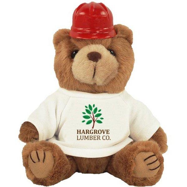 "Construction Plush Bear, 8"" w/ Full Color Imprint"