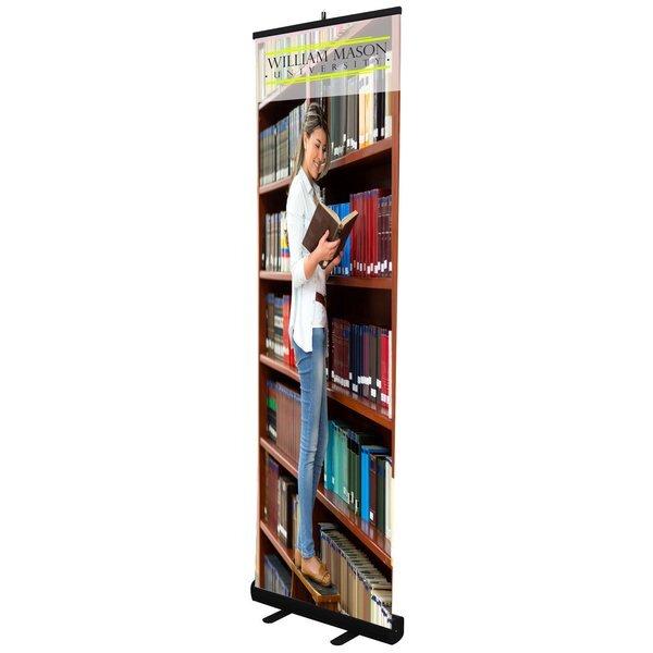 "Economy Retractor No Curl Opaque Fabric Banner Display Kit, 24"""