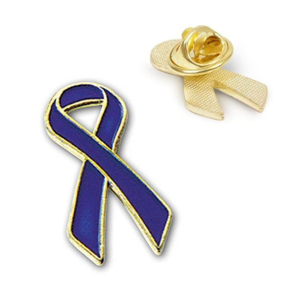 Royal Blue Ribbon Lapel Pin