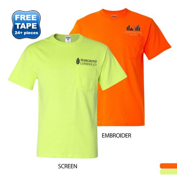 JERZEES® Dri-Power® Active 50/50 Men's Performance Pocket Tee, Safety Colors