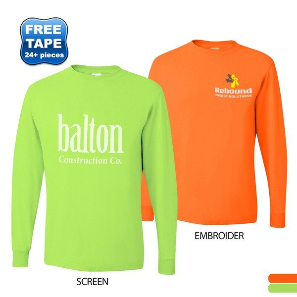 JERZEES® Dri-Power® Active 50/50 Men's Long Sleeve Performance Tee, Safety Colors