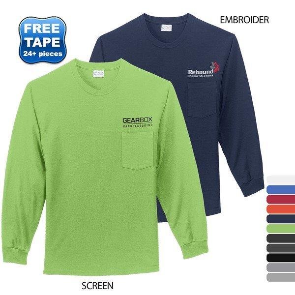 Port & Company® Essential Heavyweight 100% Cotton Men's Long Sleeve Pocket Tee