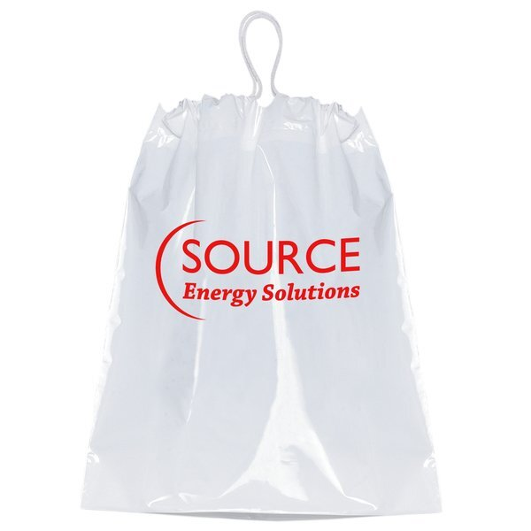 """Cotton Drawstring Plastic Bag with Gusset, 12"""" x 16"""""""