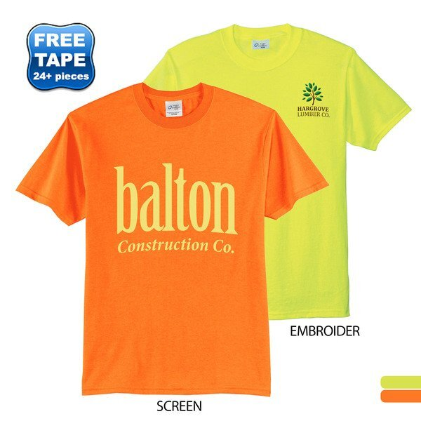 Port & Company® 50/50 Cotton/Poly Men's Tee, Safety Colors