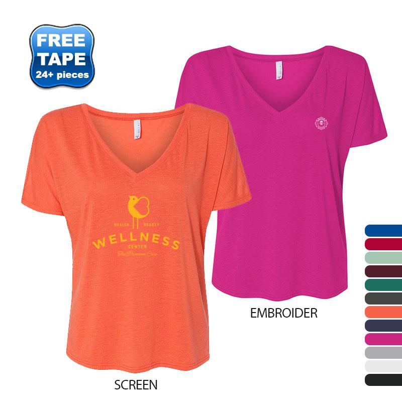 Bella + Canvas® Slouchy V-Neck Solid Color Ladies' Tee