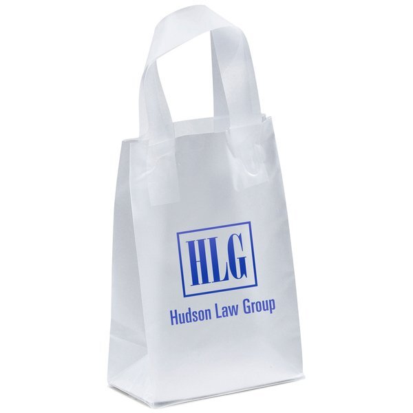 """Clear Frosted Loop Handle Shopper, 5"""" x 8"""""""