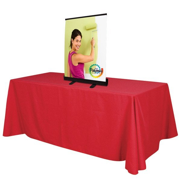 """Tabletop Economy Retractor No Curl Opaque Fabric Banner Display Kit, 39-1/4""""H"""
