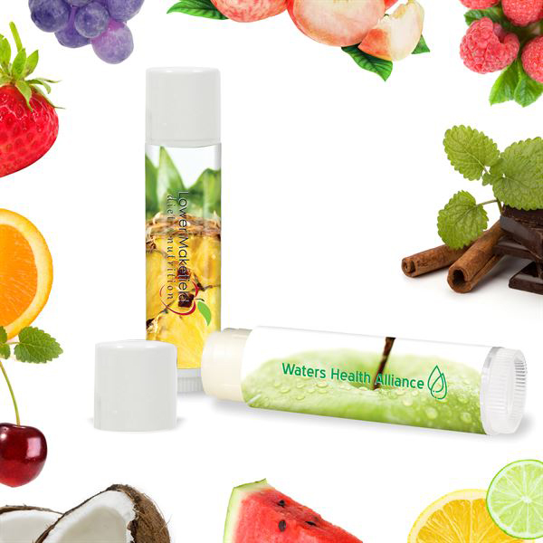 Fabulous Flavors Lip Balm in White Tube, SPF-15, Full Color Imprint