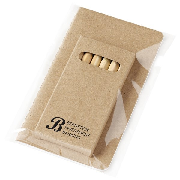 "Eco Mini Notebook and 6-Color Pencil Set, 3"" x 5"""