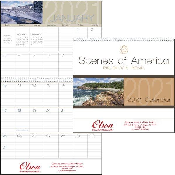 Scenes of America Big Block Memo Calendar