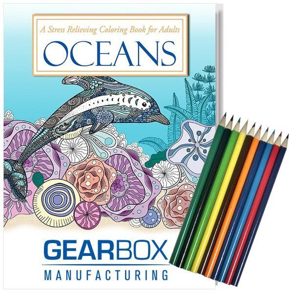 Adult Coloring Book, Oceans Theme with Colored Pencils